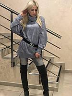 """Ангоровый женский свитер-туника """"GG"""" с поясом в комплекте"""