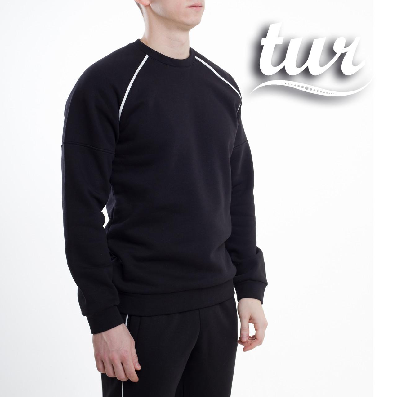 Зимний свитшот реглан мужской чёрный с полосками от бренда ТУР Сектор (Sector) размер S, M, L, XL