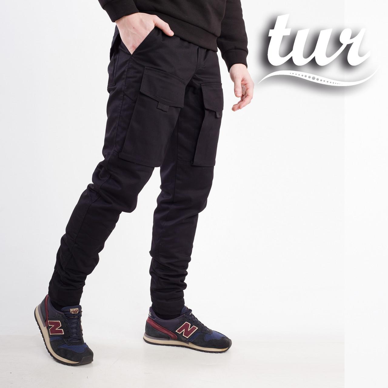 Зимние штаны карго на флисе мужские черные бренд ТУР модель Один (Odin) размер S,M,L,XL,XXL