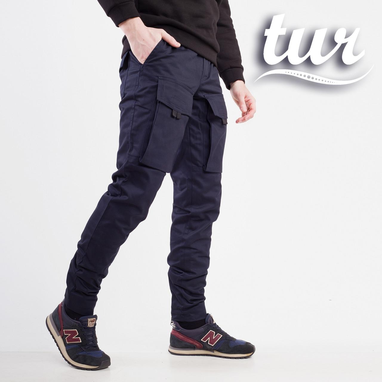 Теплые штаны карго на флисе мужские темно-синие бренд ТУР модель Один (Odin) размер S, M, L, XL, XXL