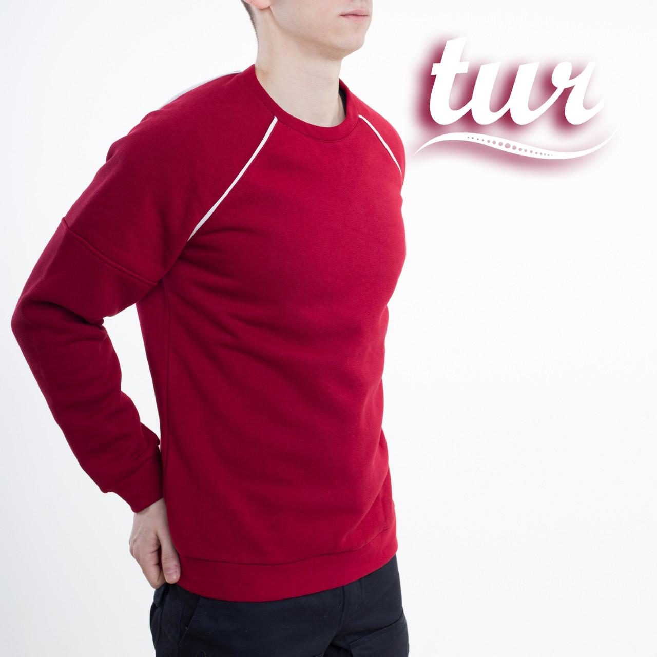 Зимний свитшот реглан мужской бордовый с полосками бренд ТУР модель Сектор (Sector) размер S, M, L, XL
