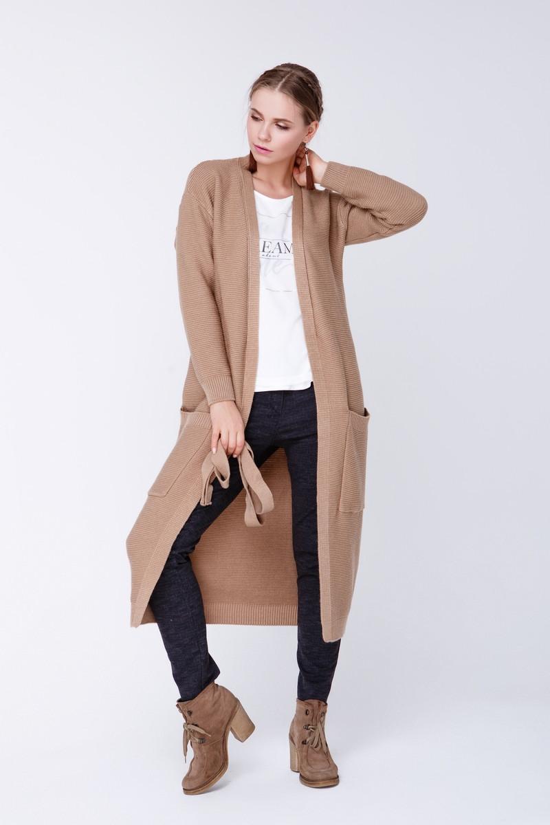 вязаное пальто Cw465 42 44 кемел цена 600 грн купить в