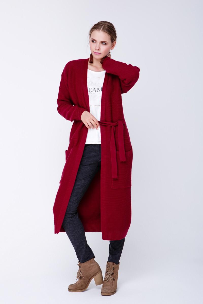вязаное пальто Cw465 46 48 бордо цена 600 грн купить в