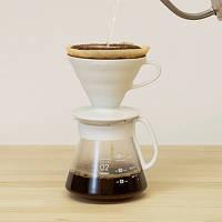 Набор HARIO Ceramic 02 пуровер, фильтры, графин для заваривания кофе на 1-4 чашки, фото 1