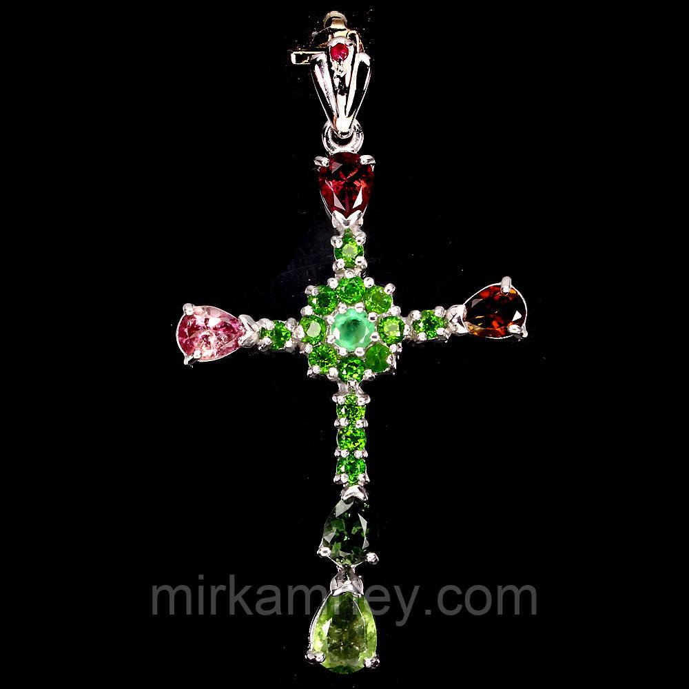 Крестик с натуральными камнями Турмалин, Изумруд, Хромдиопсид и Рубин