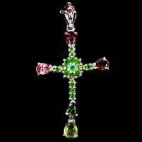 Крестик с натуральными камнями Турмалин, Изумруд, Хромдиопсид и Рубин, фото 1