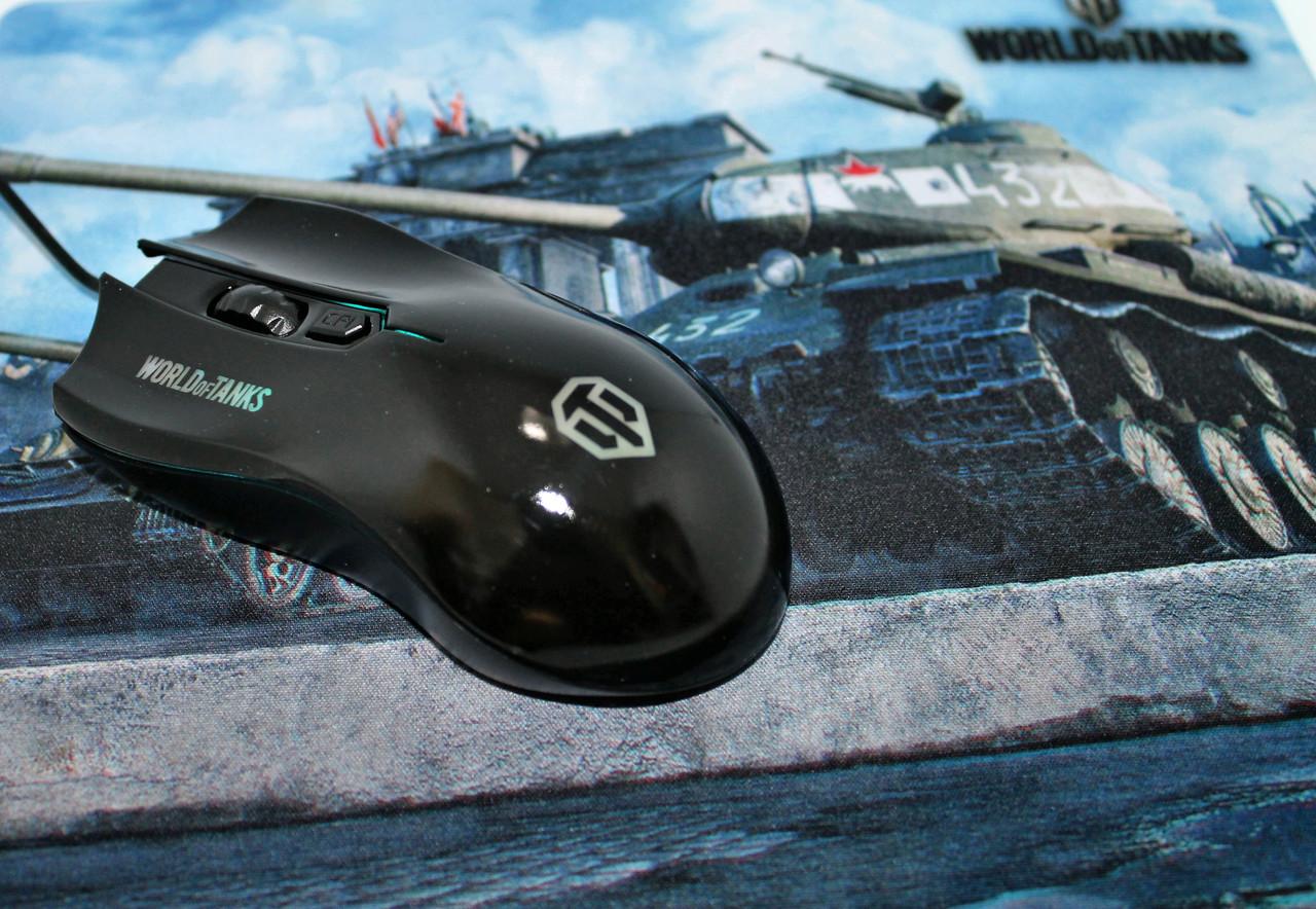 Игровая проводная мышь для компьютера с подсветкой и ковриком World Of Tanks Танки