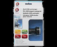 Автомобильное зарядное устройство, двойное USB, черное, фото 1