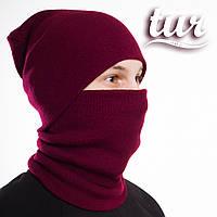 Зимняя шапка и бафф бордовые комплект от бренда ТУР