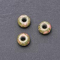 Бусина Пандора натуральный камень Гелиотроп 14х9мм d-отв-я-4,5мм