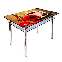 Обеденный стол КС-1 на хромированных опорах