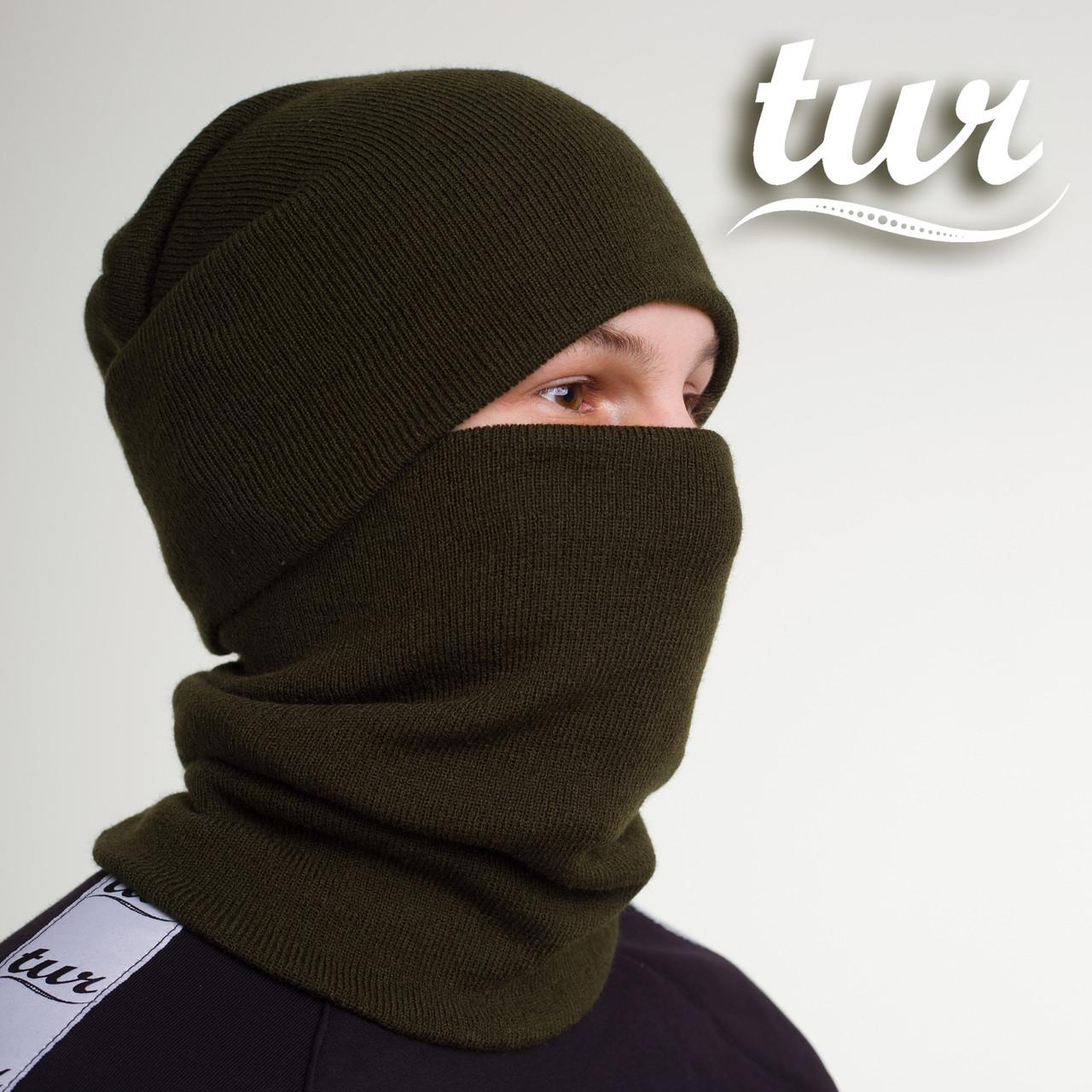 Зимняя шапка и бафф хаки комплект от бренда ТУР