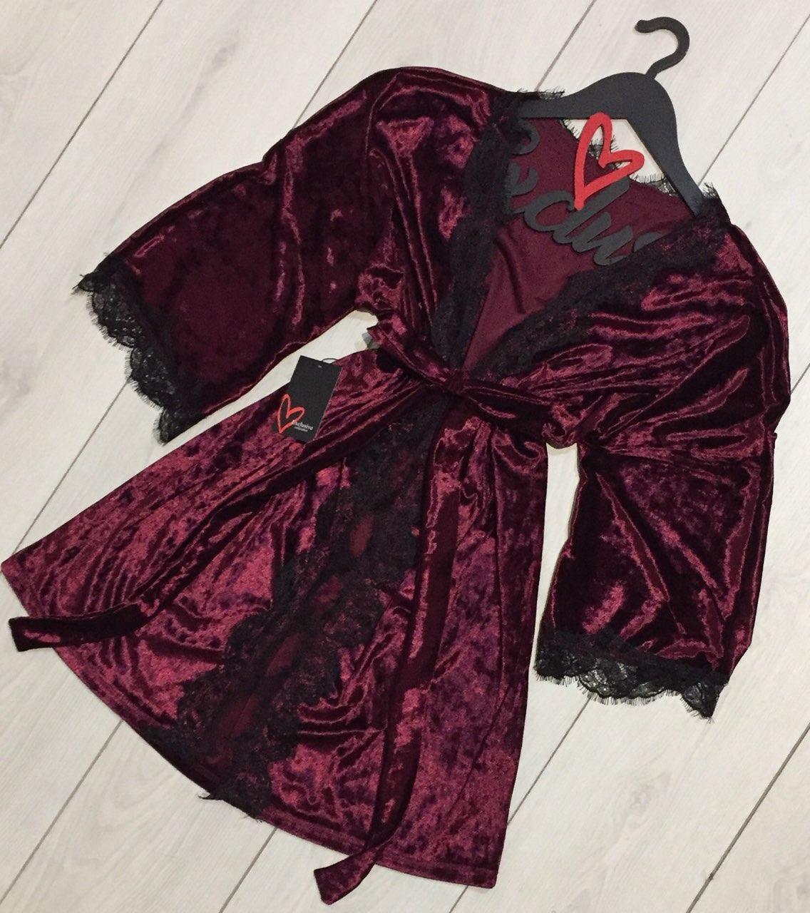 Шикарный вишневый велюровый халат