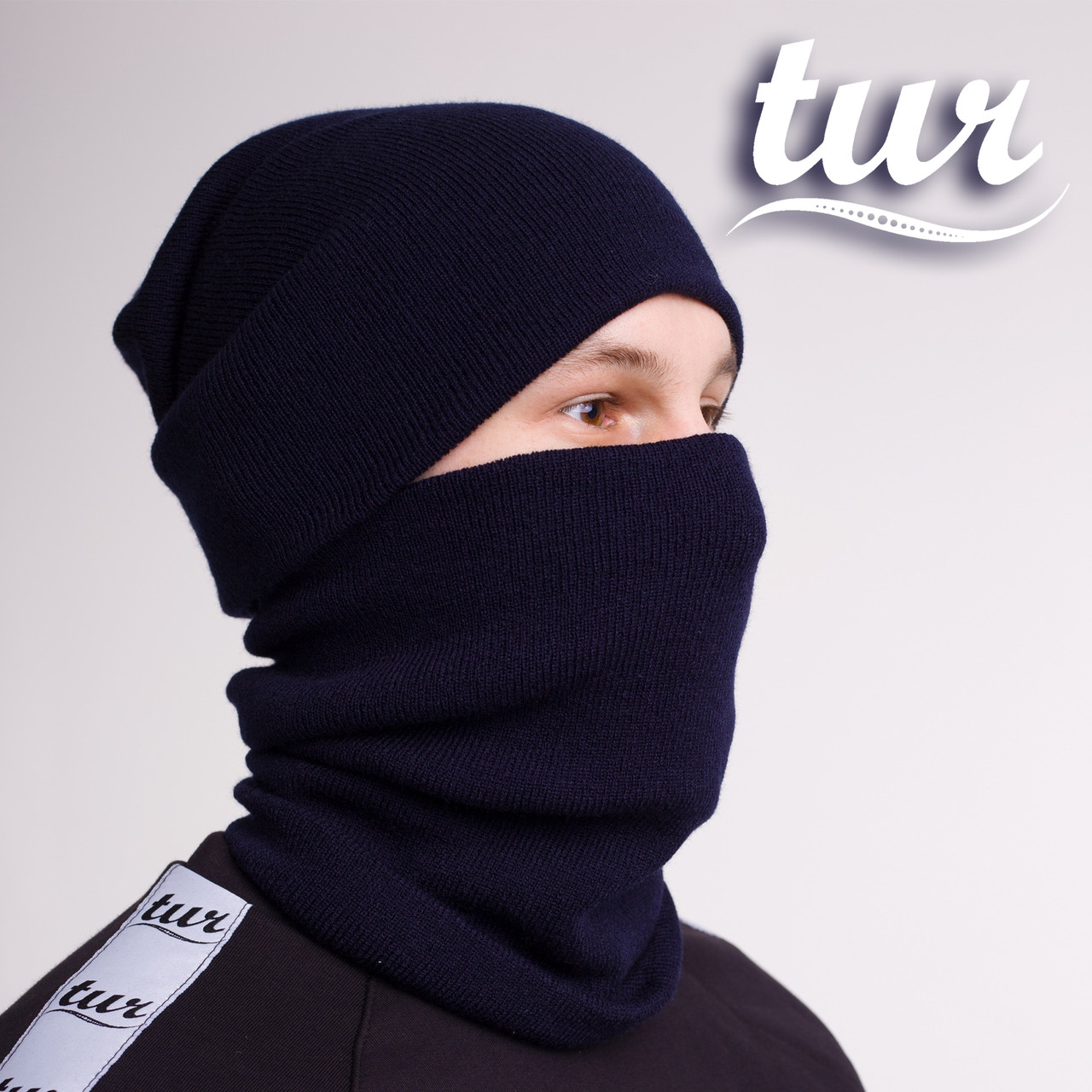 Зимняя шапка и бафф синие комплект от бренда ТУР