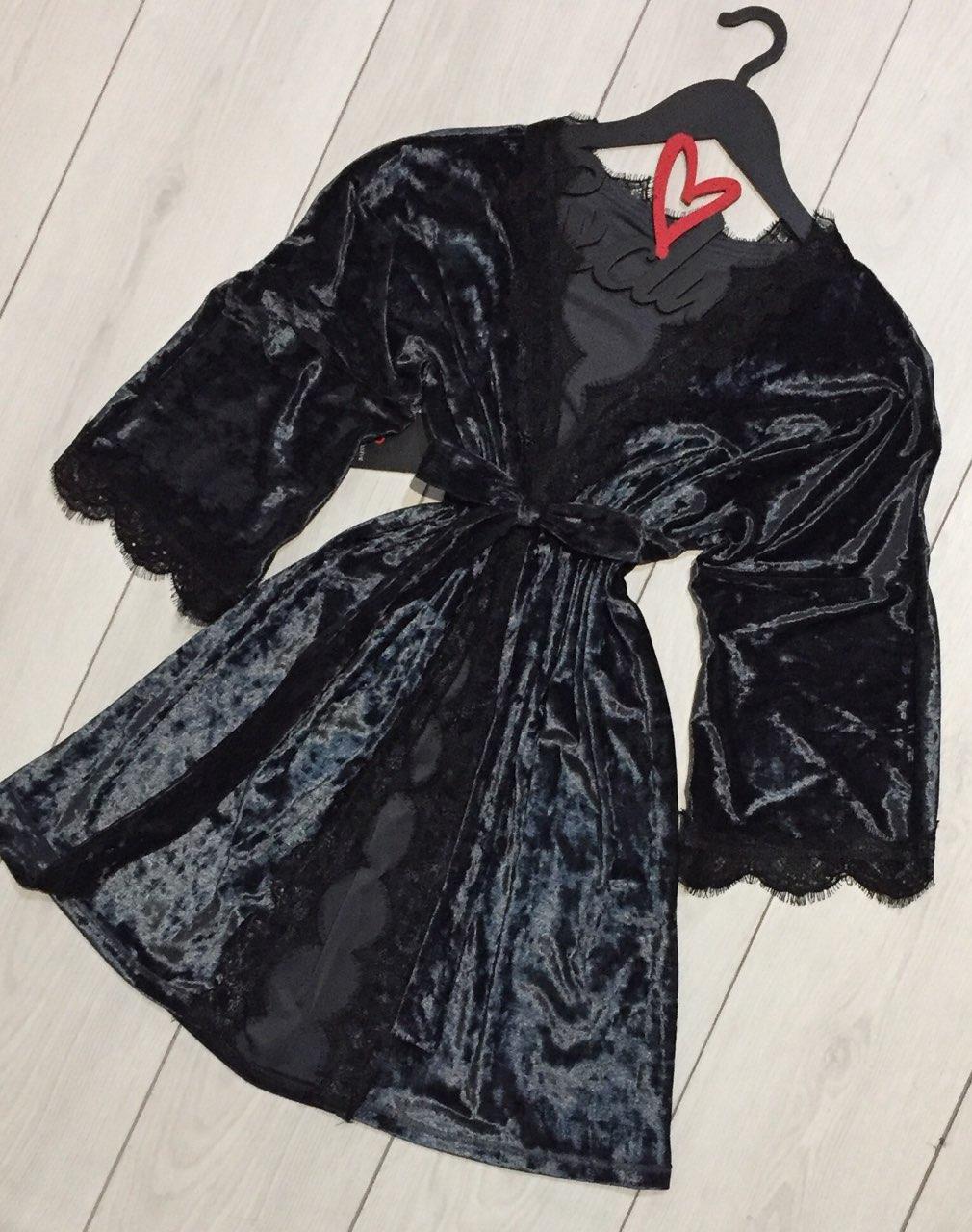 велюровый халат под пояс  с кружевом для дома