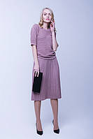 Красивая теплая юбка плиссе (46-48, пудра)
