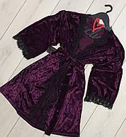 Велюровый халат с кружевом 082-1 баклажан, одежда для сна и отдыха.