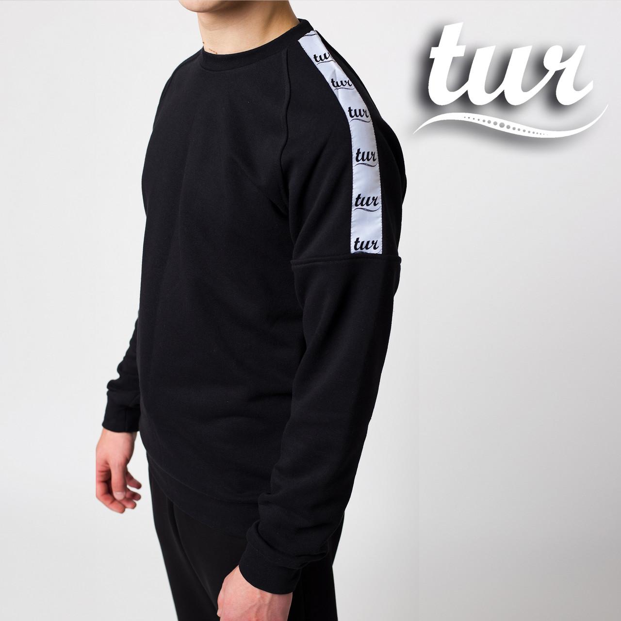 Свитшот реглан мужской чёрный с лампасом от бренда ТУР Сайбот (Saibot ) размер XS,S, M, L, XL