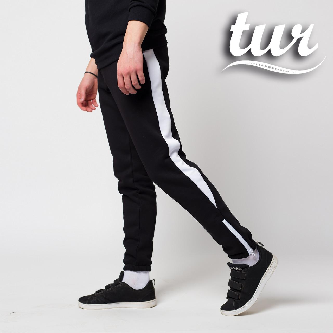 Теплые зимние спортивные штаны мужские чёрные с белым от бренда ТУР Рокки (Rocky) размер XS, S, M, L