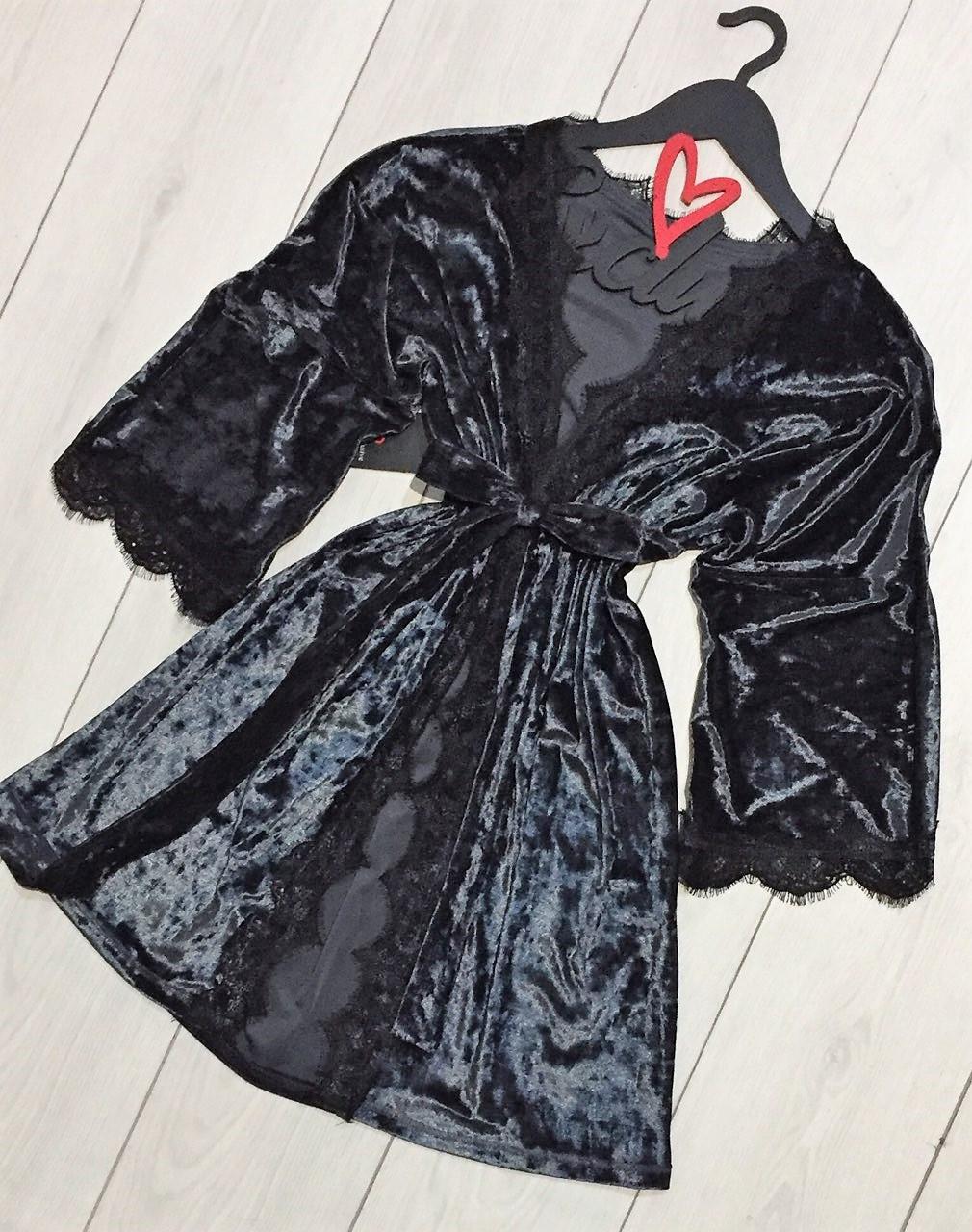 Женская одежда для дома ТМ Exclusive: велюровый халат цвета граффит
