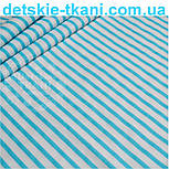 Отрез ткани с полоской 6 мм голубого (бирюзового) цвета (№ 605а), размер 75*160, фото 3