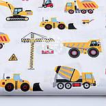 """Лоскут ткани """"Строительные машины"""" на белом фоне, №1639а, размер  43*80 см, фото 2"""