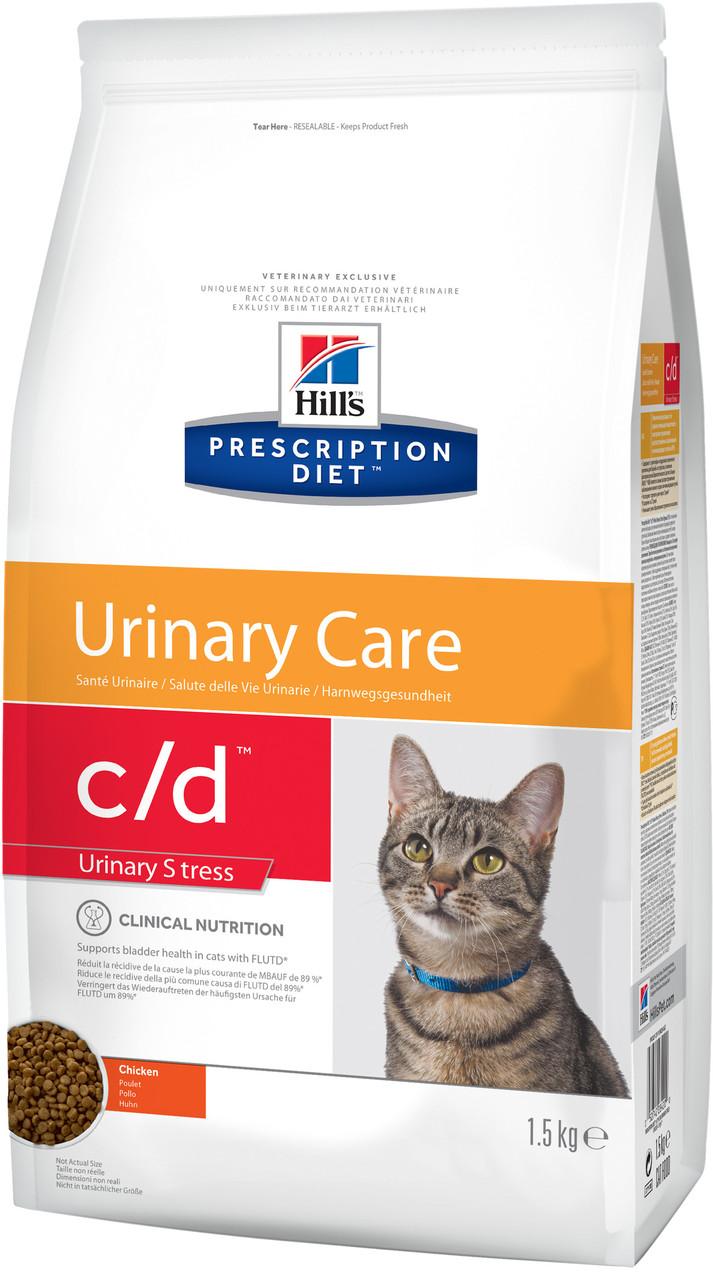 Hills PD Feline C/D Chicken 5 кг корм для котов, Ограничевает образование струвитных камней и кристаллов