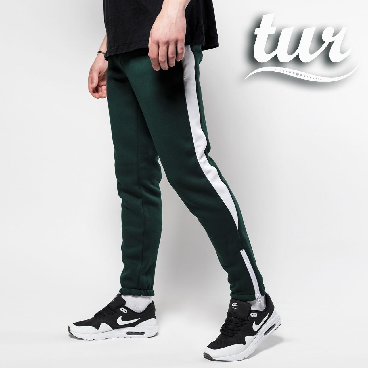 Зимние спортивные штаны мужские зеленые с белой полоской от бренда ТУР Рокки (Rocky) размер XS, S, M, L, XL