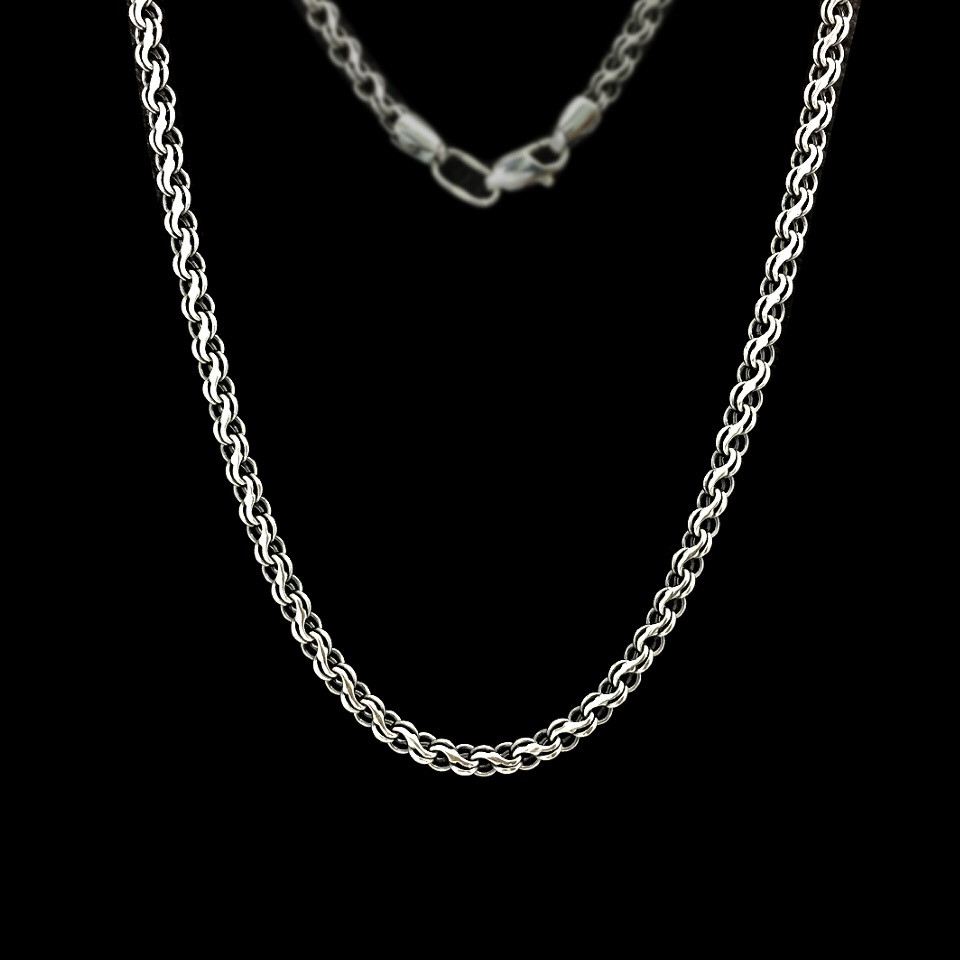 Серебряная цепочка, 550мм, 14 грамм, плетение Ручей, чернение