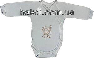Дитячий боді з начосом ріст 68 3-6 міс інтерлок блакитний на хлопчика з довгим рукавом для новонароджених