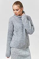 Женский серый свитер (46-48, светло-серый меланж, 60% акрил/ 30% шерсть/ 10% эластан)