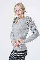 Красивый женский серый свитер (42-44, светло-серый меланж, 60% акрил/ 30% шерсть/ 10% эластан)