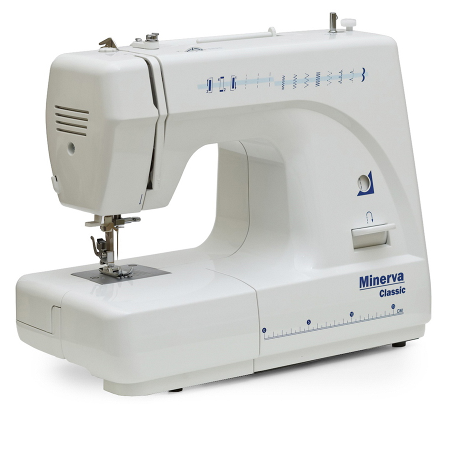 Minerva Classic, швейная машина с вертикальным челноком и полуавтоматической петлей, 12 видов строчек