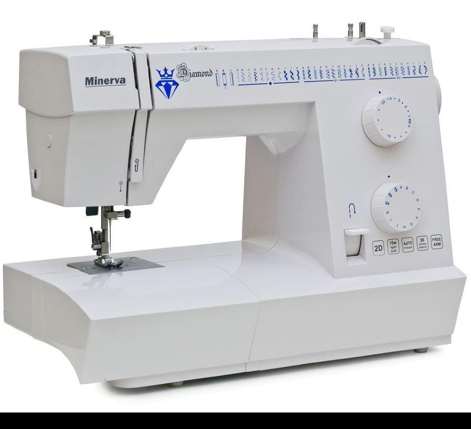 Minerva Diamond 36, швейная машина с вертикальным челноком и полуавтоматической петлей, 36 видов строчек
