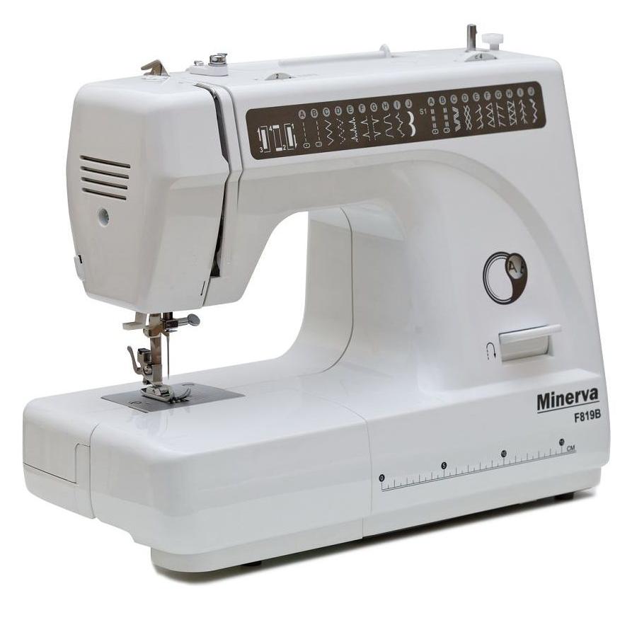 Minerva F819B, швейная машина с вертикальным челноком и полуавтоматической петлей, 19 видов строчек