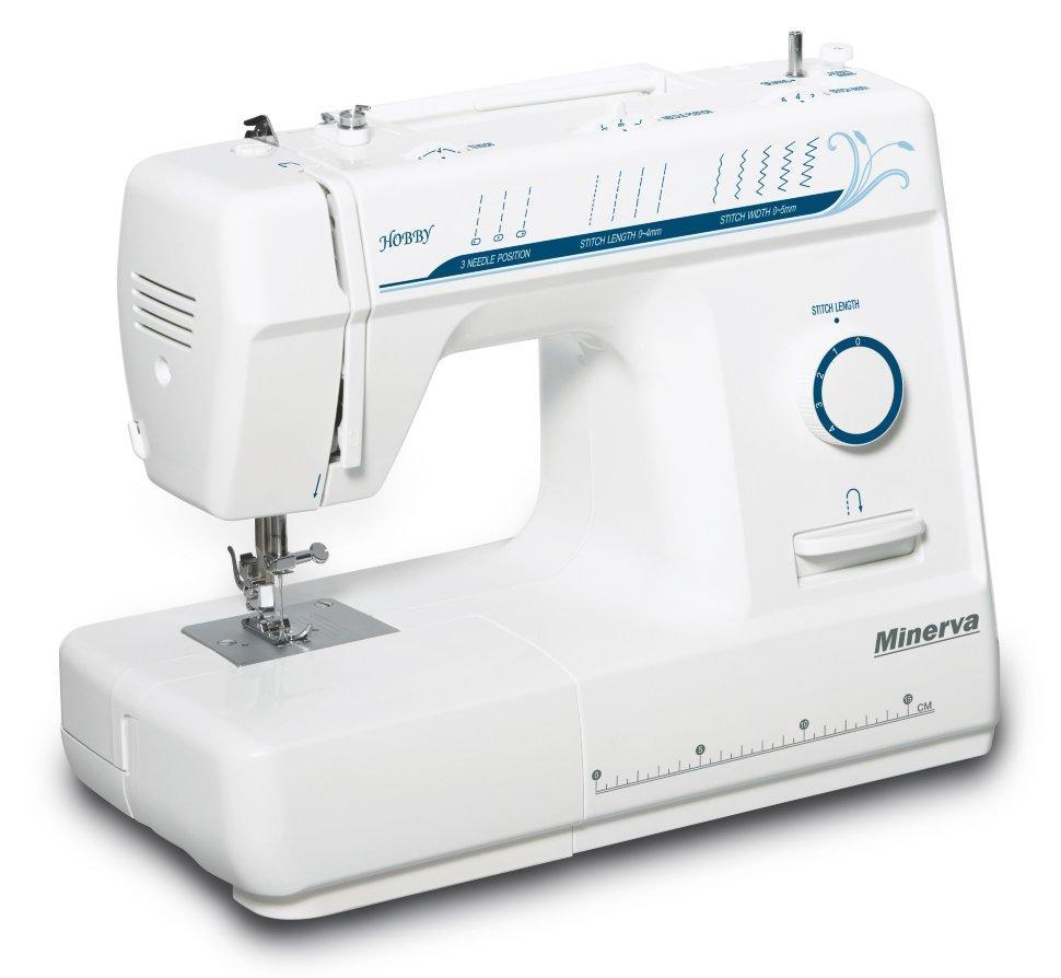 Minerva Hobby, швейная машина для начинающих, с вертикальным челноком, 12 вида строчек