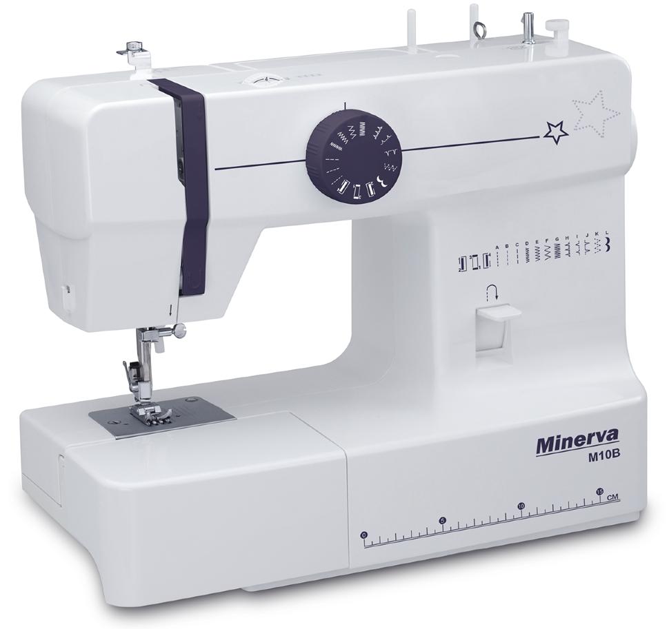 Minerva M10B, швейная машина с вертикальным челноком и полуавтоматической петлей, 12 видов строчек