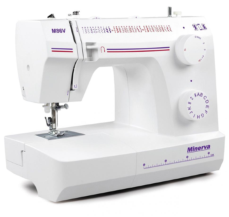 Minerva M86V, швейная машина с вертикальным челноком и полуавтоматической петлей, 32 вида строчек