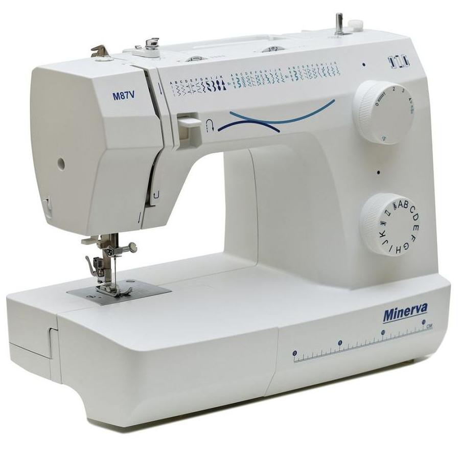 Minerva M87V, швейная машина с вертикальным челноком и полуавтоматической петлей, 32 вида строчек