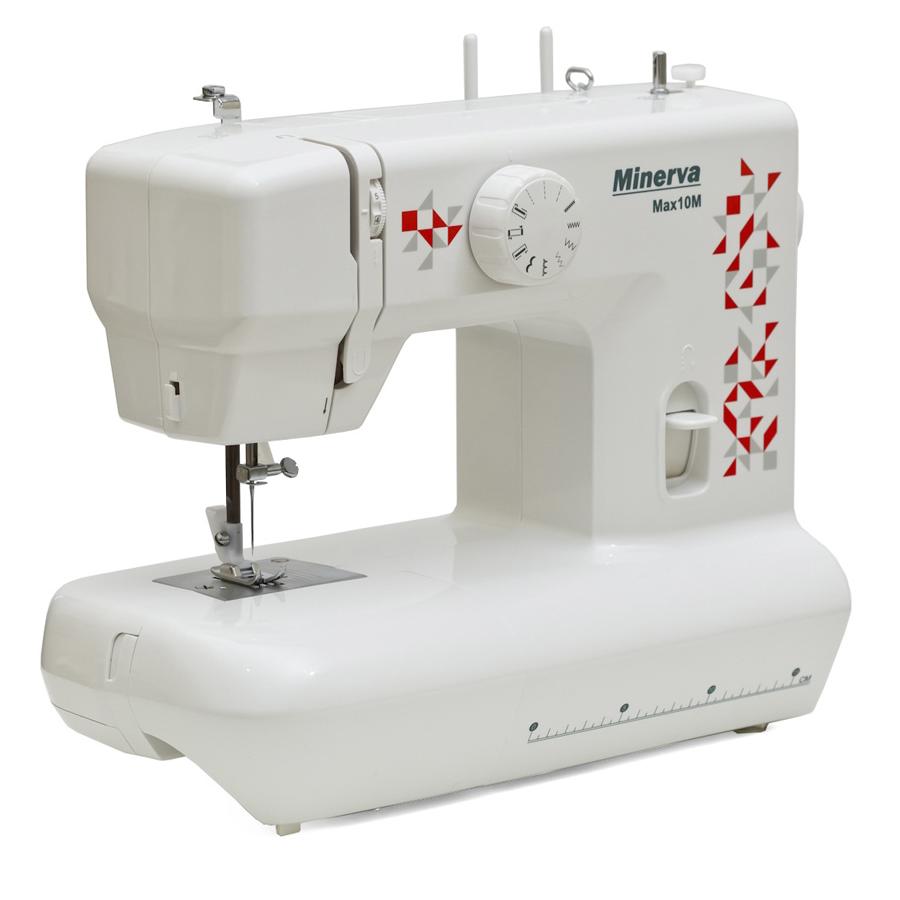 Minerva MAX 10M, швейная машина с вертикальным челноком и полуавтоматической петлей, 12 видов строчек