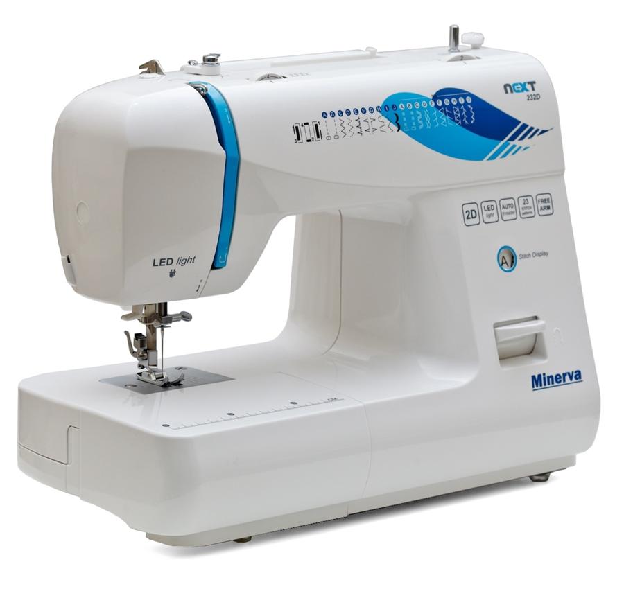 Minerva Next 232D, швейная машина с вертикальным челноком и полуавтоматической петлей, 23 вида строчек