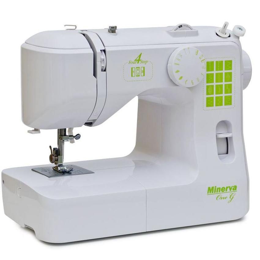 Minerva One G, бытовая швейная машина с вертикальным челноком и полуавтоматической петлей, 12 видов строчек