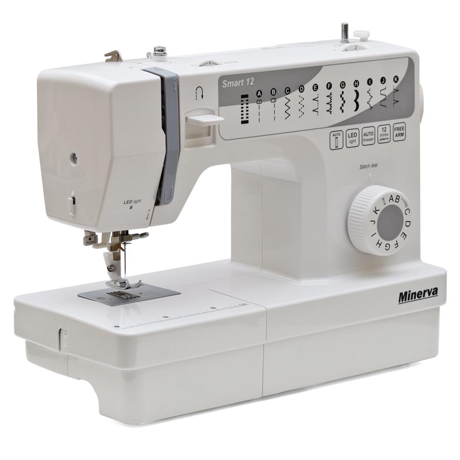 Minerva Smart 12, швейная машина с вертикальным челноком и автоматической петлей, 14 видов строчек