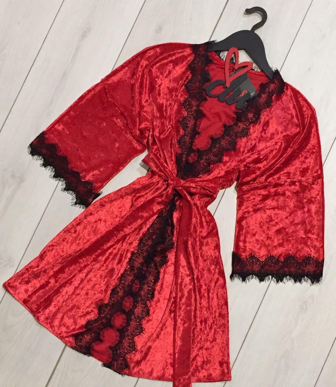 Красный велюровый халат с кружевом ТМ Exclusive, женские халаты для дома.