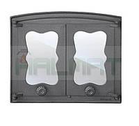 Дверки чугунные Halmat BATUMI 440X380 со стеклом. Дверцы для печи и барбекю