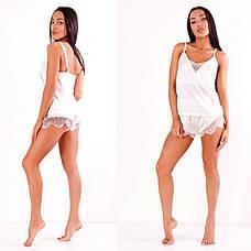 Пижама шелковая  с белым кружевом , фото 3