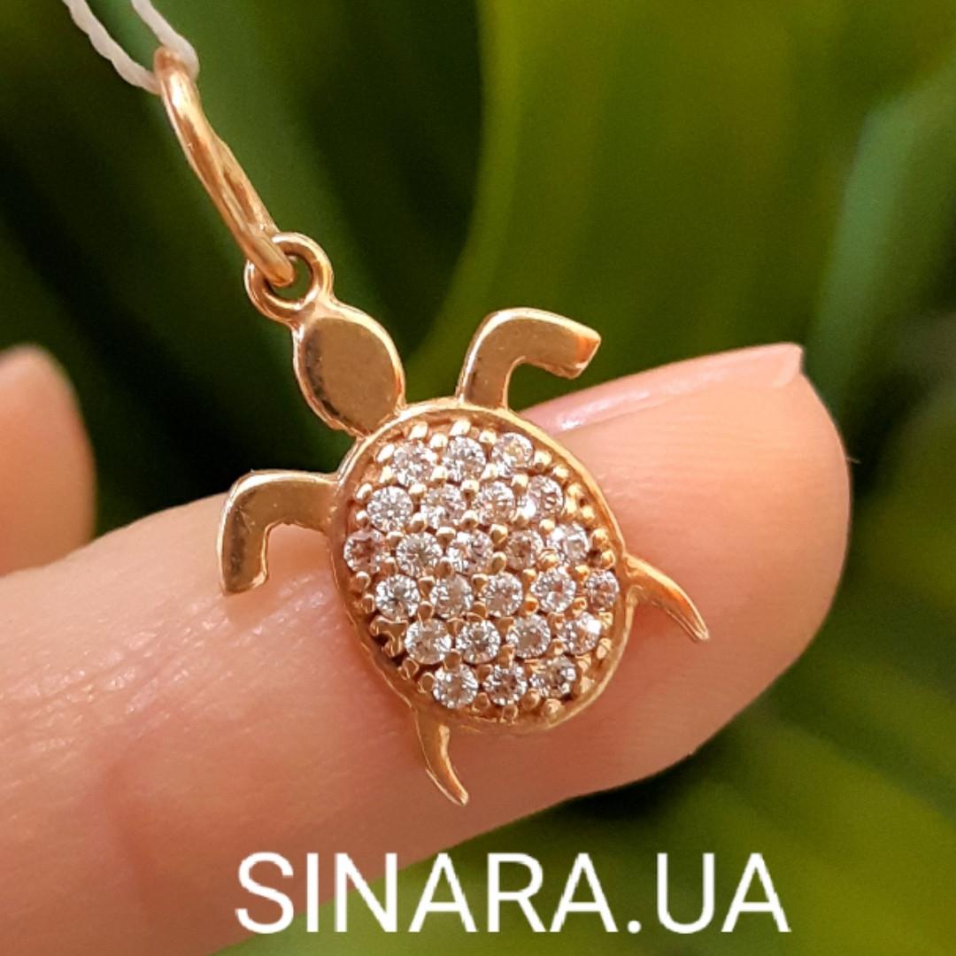 Золотая подвеска Черепашка - Кулон Черепашка золото