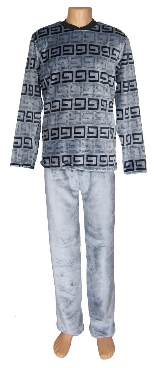 b52abd5c614f9 Пижама зимняя махровая для мальчика подростка 18315 Grey Versace вельсофт,  р.р.42