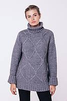 Длинный женский серый свитер (42-44, серый)