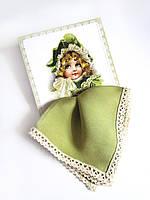 Подарочный носовой платок оливковый на открытке